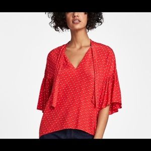 Zara Red Tie Neck Printed Blouse Size Small